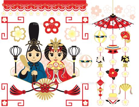 3月3日桃の節句雛祭り用イラストカットデザインイメージ素材(カラフル)の写真素材 [FYI00224522]