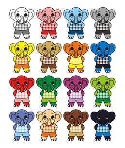 小象のキャラクターアイコン挿絵カットイラスト16色パターンの写真素材 [FYI00224523]