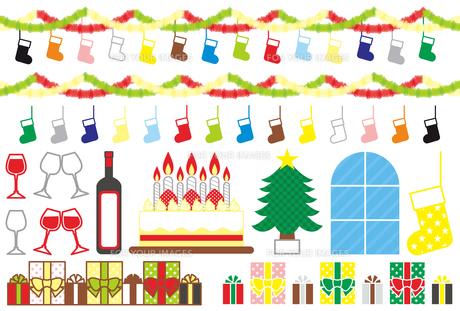 【12月】クリスマス用イラストカット素材集(靴下・飾りつけ・ワイン・ケーキ・クリスマスツリー・プレゼント)カラフルの写真素材 [FYI00224526]