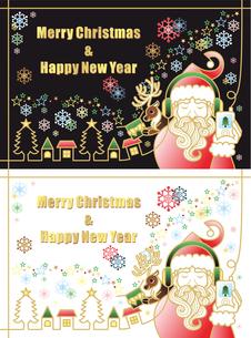 クリスマス用イラスト「音楽を聴くサンタクロースとトナカイのプレゼント」2パターンセットの写真素材 [FYI00224529]