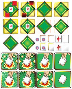 麻雀牌(ハク・チュン・イーピン)と麻雀卓イラストロゴアイコンの写真素材 [FYI00224530]