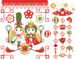 3月3日桃の節句雛祭り用イラストカットデザインイメージ素材(おめでたい配色赤茶抹茶色)の写真素材 [FYI00224531]