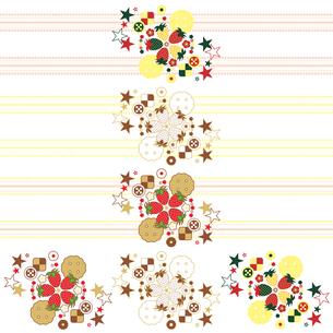 ワンポイントカットイラストデザイン装飾素材「イチゴとクッキーと星」3種類セットの写真素材 [FYI00224534]