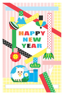 2015年未年完成年賀状テンプレート「ファンシーテープHAPPYNEWYEAR」カラフルの写真素材 [FYI00224539]
