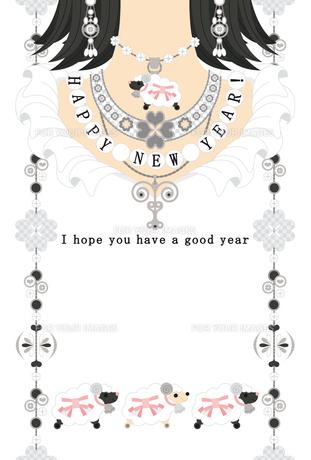 """2015年未年完成年賀状テンプレート(シルバーアクセサリー)HAPPYNEWYEAR!""""I hope you have a good year""""の写真素材 [FYI00224541]"""