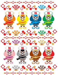 縁起のいいキャラクター(沖縄の伝統衣装「琉装」を着た福達磨と扇子)おめでたいイラストデザイン素材集の写真素材 [FYI00224545]