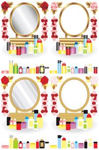 鏡台と化粧品と薔薇の花イラストカットデザインイメージの写真素材 [FYI00224547]