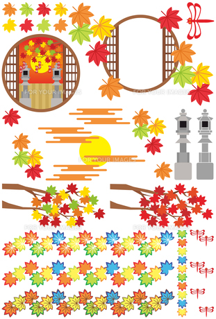 秋用和風イラストカットデザインイメージ素材集(楓・灯篭・赤蜻蛉・和風丸窓枠)の写真素材 [FYI00224549]