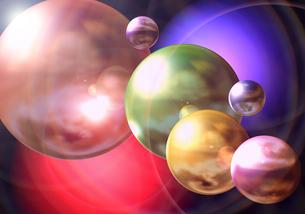 仮想空間に浮かぶ惑星の写真素材 [FYI00225395]