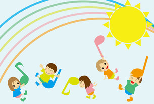 音符と遊ぶ子供たち(背景入り)の写真素材 [FYI00226629]