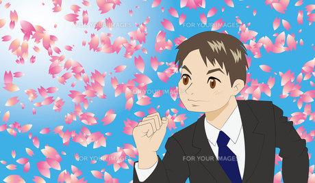新入社員と桜の写真素材 [FYI00226632]