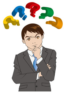 疑問の多いビジネスマンの写真素材 [FYI00226655]