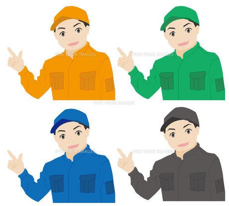 つなぎの作業員(こちらへ)の写真素材 [FYI00226677]