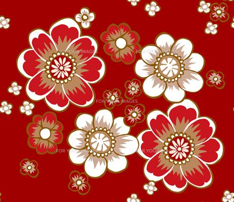 和柄モチーフ、赤い花のパターンの素材 [FYI00227118]