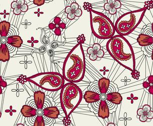 ペイズリーと梅の花の素材 [FYI00227130]