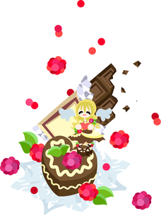 ラズベリーとホイップクリームたっぷりの甘くて美味しいチョコレートケーキ。バレンタインに現れるチョコレートの天使がお届けします。の写真素材 [FYI00227891]