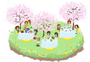 綺麗な桜の下で、色々な食べ物を食べながら、皆でお花見を楽しみましょう。の写真素材 [FYI00227893]