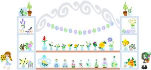 ヒマワリやアサガオ、ラベンダー、色々な夏のお花が売っているかわいいお店。の素材 [FYI00227895]