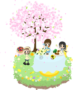 綺麗な桜の下で、スープやシーフード、果実のパイを食べながら、お花見を楽しみましょう。の写真素材 [FYI00227900]