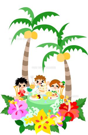 ハイビスカスとプルメリアが咲くハワイアンパンケーキのカフェ。親子で楽しいひとときを過ごしましょう。の素材 [FYI00227910]