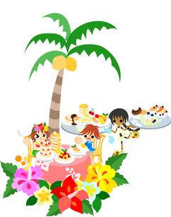 ハイビスカスとプルメリアが咲くハワイアンパンケーキのカフェ。色々なパンケーキを食べよう。の写真素材 [FYI00227911]