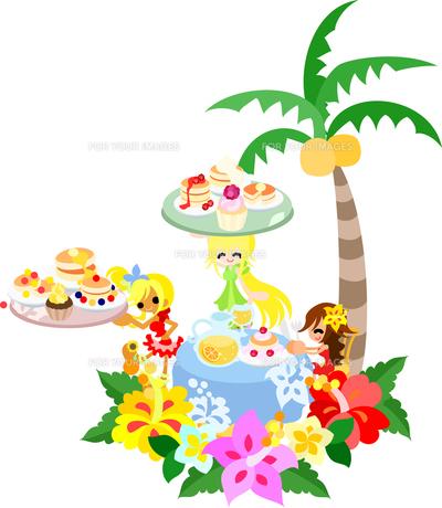ハイビスカスとプルメリアが咲くハワイアンパンケーキのカフェ。カップケーキやフルーツジュースもありますよ。の写真素材 [FYI00227918]