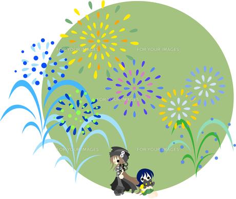 大きな花火が舞い上がる真夏の夜。ネコも一緒に花火を楽しんでいます。の素材 [FYI00227919]