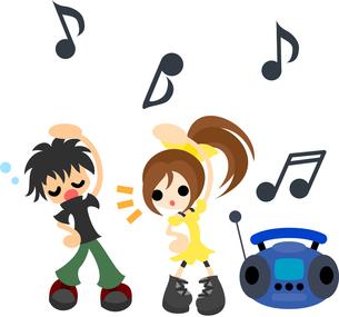 ラジオ体操をする少年と少女。の写真素材 [FYI00227920]