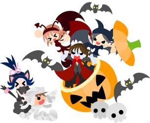 ジャック・オ・ランタンから3人の悪魔が現れてびっくりするミイラの少年と黒猫の少女。の写真素材 [FYI00227934]