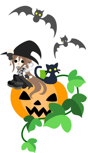 大きなジャック・オ・ランタンの上に座っている魔法使いの少女と黒猫。の写真素材 [FYI00227942]