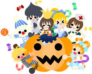 今日は楽しいハロウィンパーティ。仮装した子どもたちが大勢やってくる。の写真素材 [FYI00227944]