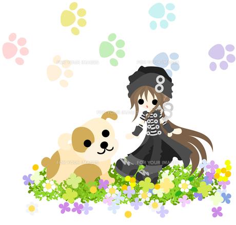 綺麗な花畑に佇む黒い帽子をかぶった少女と大きな犬の写真素材 [FYI00227948]