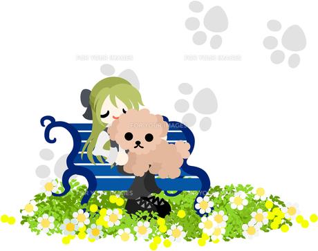 ベンチの上で犬と一緒にくつろぐ女性の写真素材 [FYI00227949]