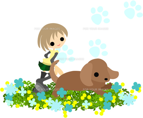 花畑の上を走る少女と犬の写真素材 [FYI00227950]