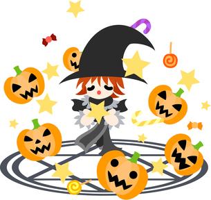 魔法陣の上で魔法を唱える少年。お菓子と一緒にジャック・オ・ランタンが現れた。の写真素材 [FYI00227951]