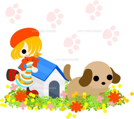赤い帽子をかぶった金髪の少女と可愛い犬の写真素材 [FYI00227954]