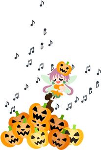 たくさんのジャック・オ・ランタンに囲まれて歌を歌うハロウィンの妖精。の写真素材 [FYI00227958]