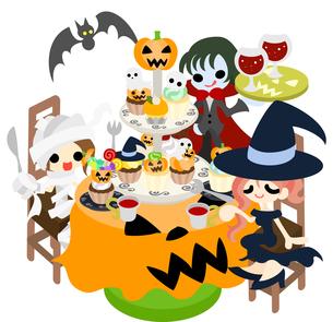 たくさんのカボチャのケーキを食べながら、パーティを楽しむミイラと魔女と吸血鬼。の写真素材 [FYI00227959]