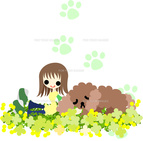 犬と一緒に野原で休む少女の写真素材 [FYI00227962]