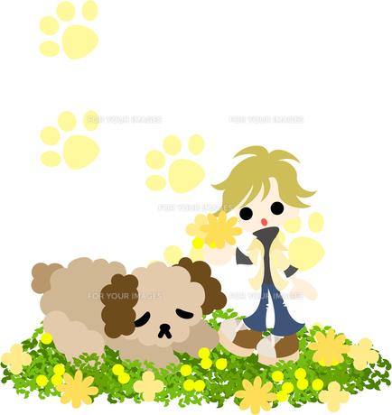お昼寝中の犬と花束を摘む金髪の女性の写真素材 [FYI00227966]