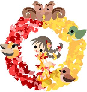 紅葉と黄葉のドレスを着た少女と小さな動物達のリース。の写真素材 [FYI00227973]
