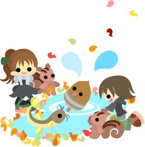 どんぐりとドジョウが遊んでいる池を眺める男の子と女の子。の写真素材 [FYI00227985]