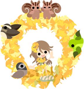 イチョウのドレスを着た少女と小さな動物達のリース。の写真素材 [FYI00227990]