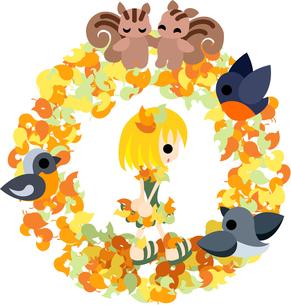 木の葉ののドレスを着た少女と小さな動物達のリース。の写真素材 [FYI00227995]