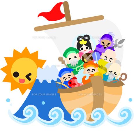 新しい年の夜明け、七福神が大きな宝船に乗ってやってきた。の写真素材 [FYI00228067]