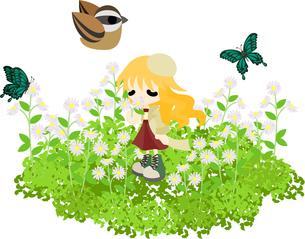 花畑で黄昏れる少女の写真素材 [FYI00228113]