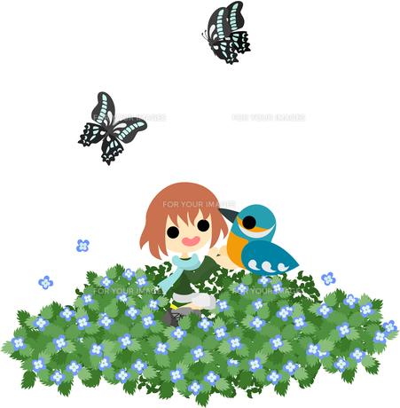 花畑で小鳥と戯れる少女の写真素材 [FYI00228122]