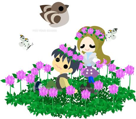 花畑で花冠を作るカップルの写真素材 [FYI00228126]