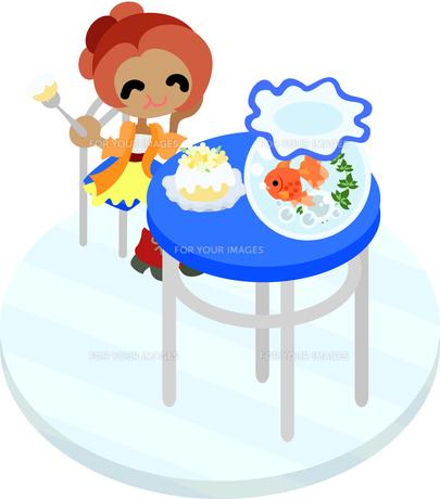青色のテーブルに座って金魚鉢を眺めながらケーキを食べる女性の写真素材 [FYI00228135]