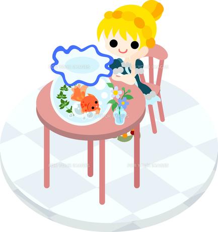 桃色のテーブルに座って金魚鉢を眺める少女の写真素材 [FYI00228142]